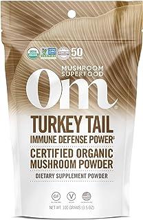 Om Organic Mushroom Superfood Powder, Turkey Tail (50 Servings), Immune Support, Gut Health & Holistic Defense Supplement,...