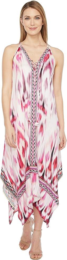 Sun Streaked Rayon Stretch Satin Maxi Dress