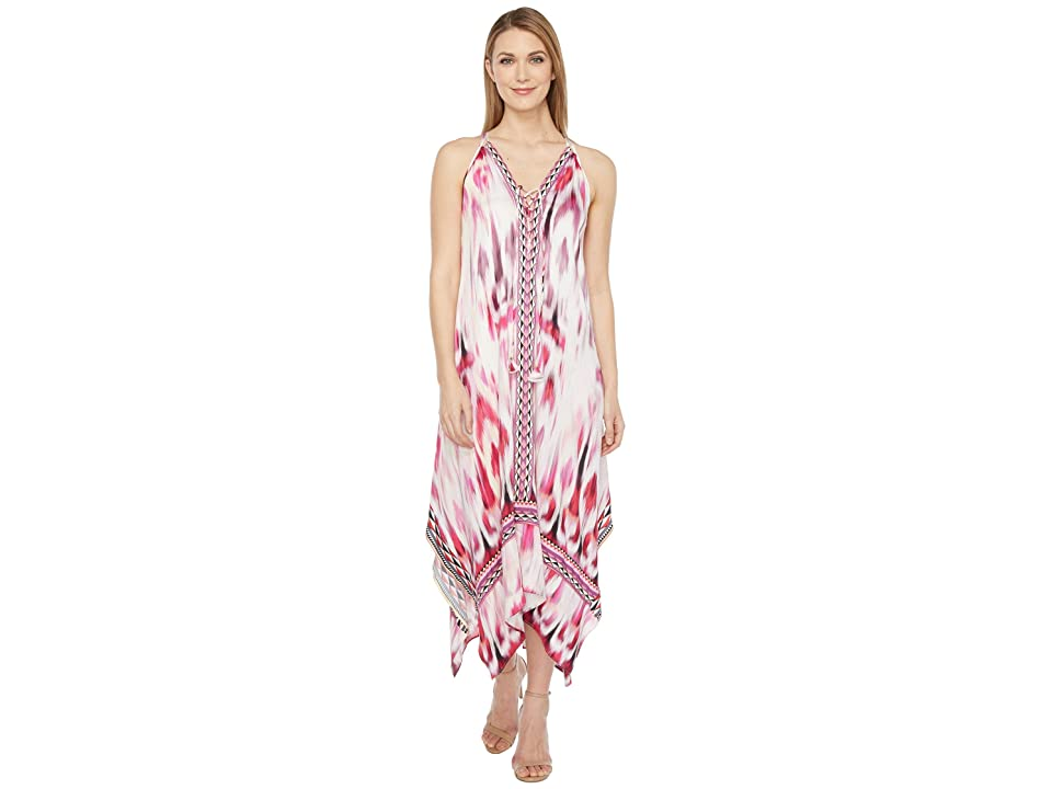 Hale Bob Sun Streaked Rayon Stretch Satin Maxi Dress (Red) Women
