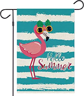 Haustalk Hello Summer Cute Flamingo Small Garden Flag Vertical Double Sided Burlap Yard Outdoor Decor 12.5 x 18 Inches (12...