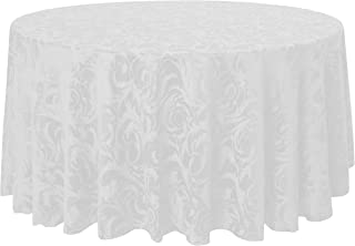 Ultimate Textile -2 Pack- Damask Melrose 120-Inch Round Tablecloth - Floral Leaf Scroll Jacquard Design, White