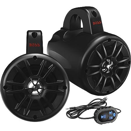 BOSS Audio Systems BM40AMPBT Marine Waketower Speaker System - Bluetooth, 500 Watts of Power Per Pair, 250 Watts Each, 4 Inch, Full Range, 2 Way, Marine Grade, Weatherproof, Sold in Pairs