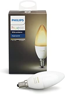Philips Hue White Ambiance E12 Decorative Candle 6W Equivalent Dimmable LED Smart Bulb (Compatible with Amazon Alexa Apple HomeKit and Google Assistant) (Renewed)