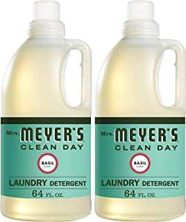 Mrs. Meyer's Clean Day Liquid Laundry Detergent, Cruelty Free and Biodegradable Formula, Basil Scent, 64 oz- Pack of 2