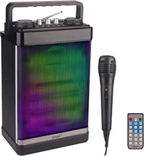 RHM Portable Karaoke Speaker with Microphone,PA System Bluetooth Speaker,Karaoke Machine with Rechargeable Battery&LED Lights&Remote Control,Bluetooth/AUX/USB/SD/FM Radio for Home,Party,Picnic