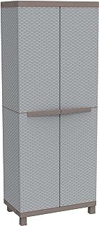 Terry Rattan 2680 Armoire d'Intérieur et d'Extérieur à 2 Portes Effet Rotin, 3 Étagères Intérieures, Gris, 68x39x170 cm
