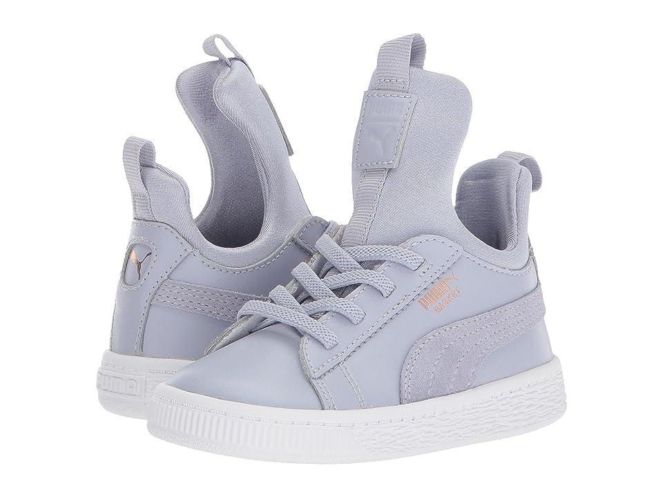 Puma Kids Basket Fierce AC (Toddler) (Icelandic Blue/Rose Gold/PUMA White) Girls Shoes