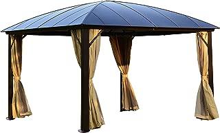 ALEKO GZBHR02 Aluminum Hardtop Gazebo Canopy with Removable Netting Mesh Walls 10 x 12 x 9 Feet Brown