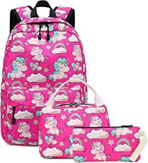 Backpack for School Girls Teens Bookbag Set Kids School Bag 15 inches Laptop Daypack (Rose Pink Unicorn Set)