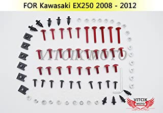 VITCIK Full Fairings Bolt Screw Kits for Kawasaki EX250R Ninja 250 EX-250R ZX250R 2008 2009 2010 2011 2012 Motorcycle Fastener CNC Aluminium Clips (Red & Silver)