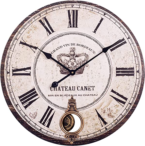BEW Large Pendulum Wall Clocks Vintage Crown Roman Numerals Wood Silent Antique Decorative Clock For Living Room Dining Room Bedroom Kitchen 24 Inch