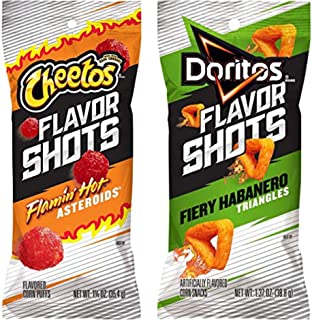 Cheetos Flavor Shots Flamin' Hot Asteroids Doritos Flavor Shots Fiery Habanero Triangles 2 Pack One Bag Of Each