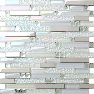 New Design TST Glass Metal Tile Iridescent White Glass Silver Mirror Stainless Steel Blends Interlocking Strip Wall Tiles TSTNB01 (10 Square Feet)