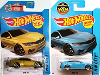 M Series BMW Blue & Gold Car Set Hot Wheel BMW M4 #24 Variant Set 2015 New Casting in PROTECTIVE CASES