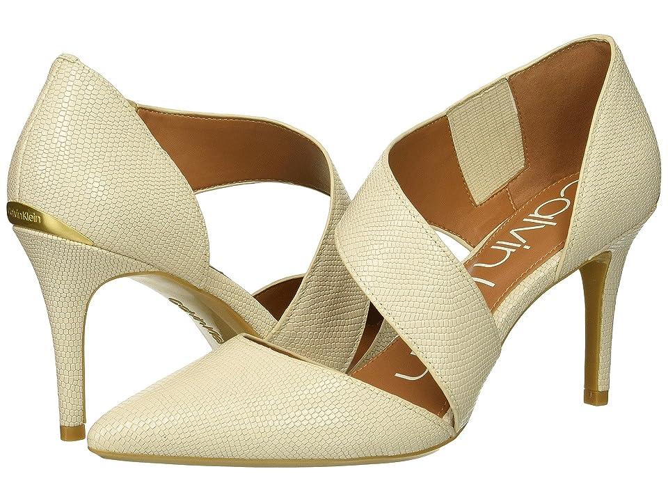 Calvin Klein Gella Pump (Soft White Shiny Lizard) High Heels