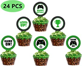 Video Game Party Cupcake Toppers Includes 6 Styles Totaling 24 Pieces,Perfect For Gaming Theme Party,Birthday Party Inspired Supplies.
