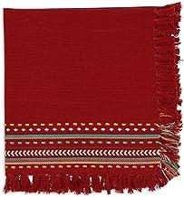 بياضات طاولة ساوثويست من ديزاين إمبورتس، مناديل 20 بوصة × 20 بوصة، مجموعة من 4 قطع، أحمر شبوتل هاسيندا شراشيب