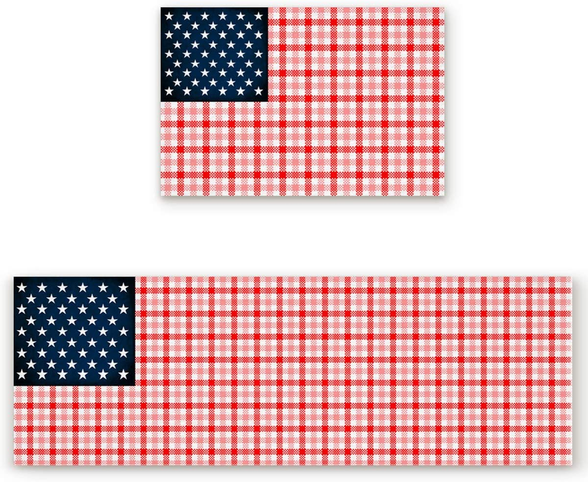 Rocking Giraffee Special sale item Kitchen Rug and Mats Fl 2 Plaid Many popular brands Piece American