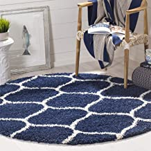 SWEET HOMES Carpet. Luxurious Soft Shag Collection Anti-SkidMoroccan Ogee Plush Area Rug, Size 4x4 Round, Color, Navy Blue/Ivory