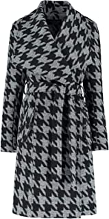 De La Creme Womens Large Collar Black Dog Tooth Check Womens Winter Belted Wrap Coat