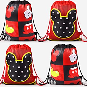 Rekcopu Mickye Mouse Favor Bags, Treat Candy Goodie Gift Non-woven Bags Reusable for Baby Birthday Party Supplies Baby Shower Mouse Theme Party Decorations