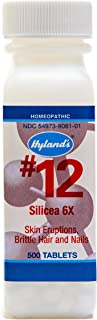 Hyland's Homeopathic Cell Salts #12 Silicea 6X Tablets, Natural Relief of Skin Eruptions, Brittle Hair and Nails, 500 Count