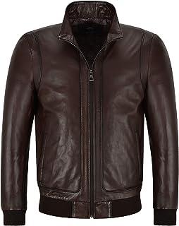 Racer Mens Leather Jacket Semi Veg Tanned Brown Casual Italian Lambskin Tops A26