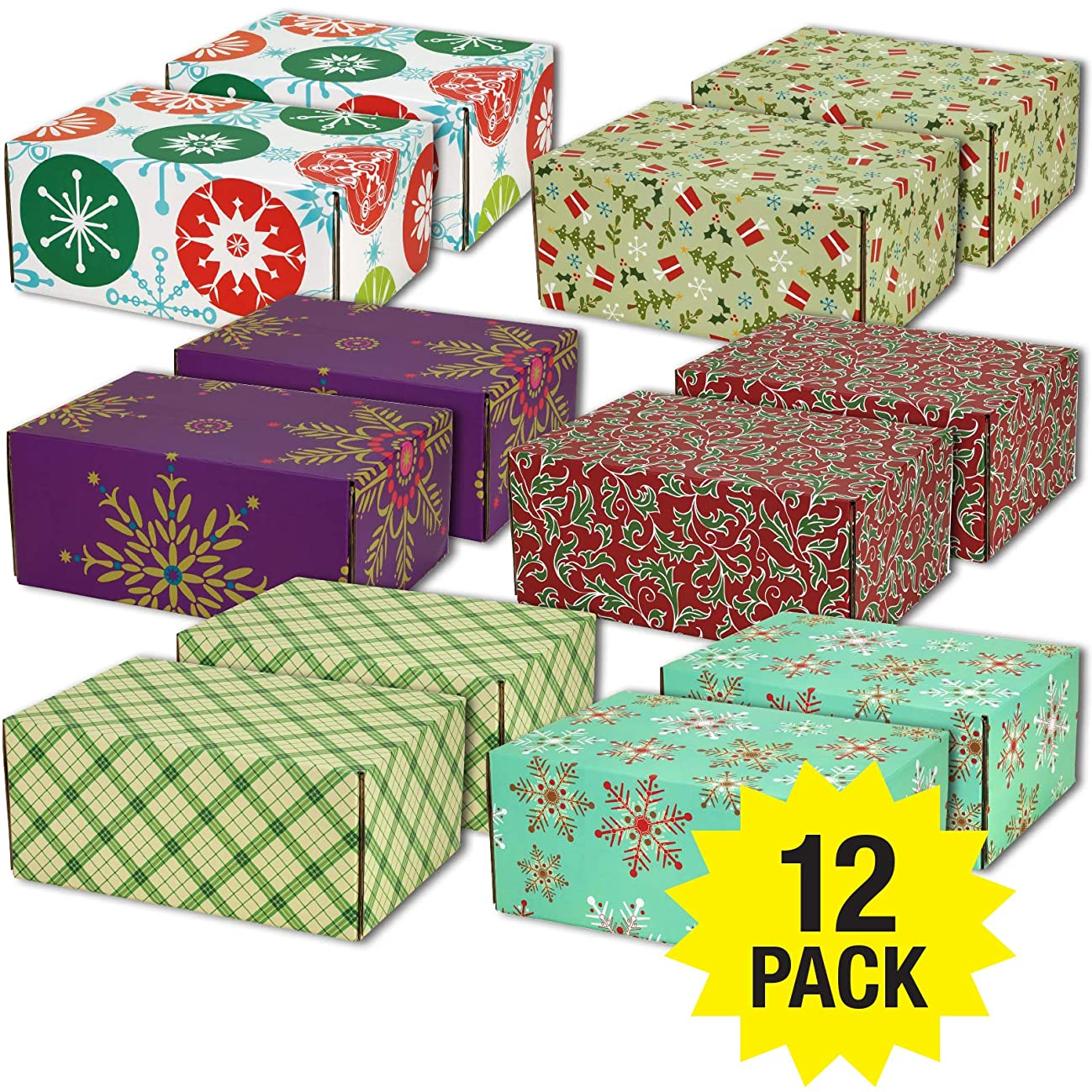 Gift Shipping Boxes (Pack of 12, Holiday Patterns, Medium)