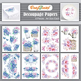 Craftreat Flower Decoupage Paper Crafts - Hydrangea and Pink Peonies Flower Paper for Decoupage - 8 Pcs - Size: A4 - Hydra...