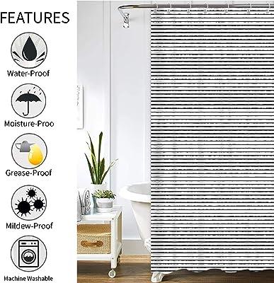 "Fabric Shower Curtain for Bathroom, Black and White Striped Shower Curtain Fabric Waterproof Extra Long Bathroom Curtains, 72""x72"""