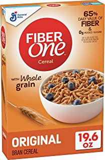 Fiber One Breakfast Cereal, Original Bran, 19.6 oz, pack of 6