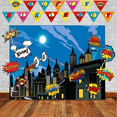Superheros Photo Backdrop And Birthday Banner Superhero Party Supplies For Any Celebration