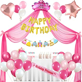 Golray Princess Party Supplies Birthday Decorations for Girls, 33 Balloons, Tulle Backdrop, Bowknot, Gold Happy Birthday B...