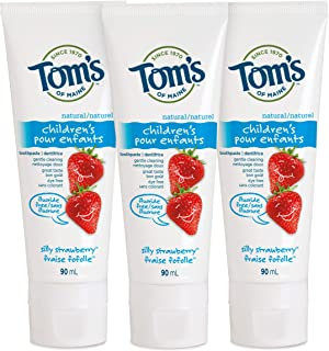 Tom's of Maine Natural Children's Fluoride-Free Toothpaste, Silly Strawberry, 90 ml, 3-Pack