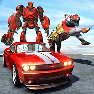 Tiger Robot Cop Car Driving : Animal Robot Games