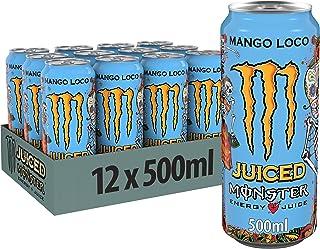 Monster Energy Mango Loco mit tropischen Mangosaft - mit Kohlensäure, Energy Drink Palette, EINWEG Dose 12 x 500 ml