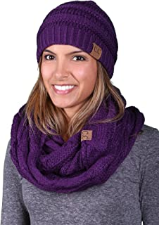 purple hat and scarf set