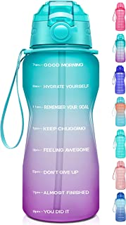 Giotto Large Half Gallon/64oz Motivational Water Bottle with Time Marker & Straw,Leakproof Tritan BPA Free Water Jug,Ensur...