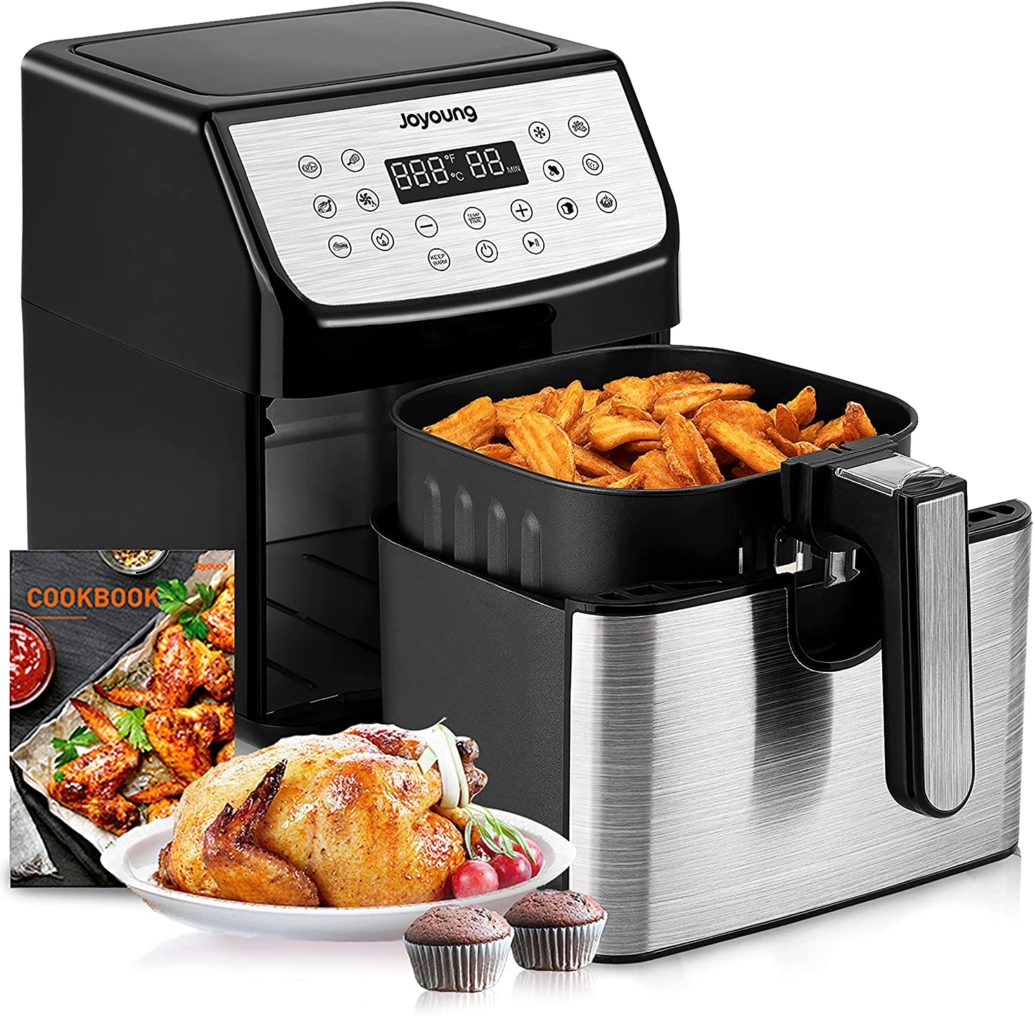JOYOUNG Air Fryer 5.8QT Detachable Double Basket Air Fryers 1700W 13-in-1 Presets Airfryer One Touch LED Touchscreen Air Fryer Toaster Oven with Recipe