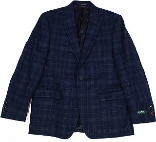 Mens Wool Blend Plaid Two-Button Blazer