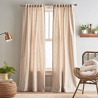 "Peri Home Mallorca Embroidery Back Tab Window Curtain Panel Pair, 95"", Linen/White"