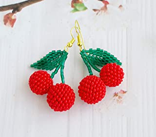 Double Red Beaded Cherry Earrings Wholesale Jewelry Dangle Fruit Jewelry Gift for women birthday gift for her handmade Jewelry