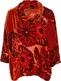 Grizas Women's Velvet Devoré Cowl Neck Top Orange