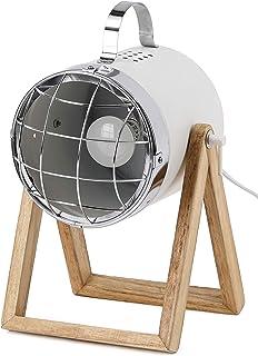 BRUBAKER Lámpara de sobremesa o de pie - diseño industrial - altura hasta 42 cm - base de madera - foco metal blanco