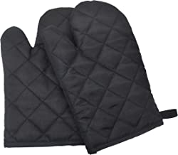 2Pcs Cotton Padded Oven Mitts - Premium Heat Resistant Kitchen Gloves Cotton and Polyester Quilted Mittens | 3 Layer Const...