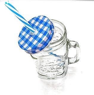 Mason Jar Mugs with Handle, Tin Lid and Plastic Straws