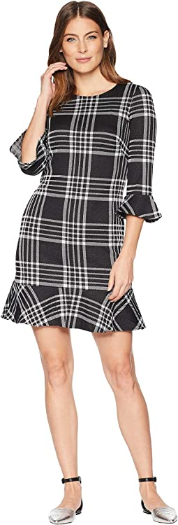 Plaid 3/4 Sleeve Day Dress