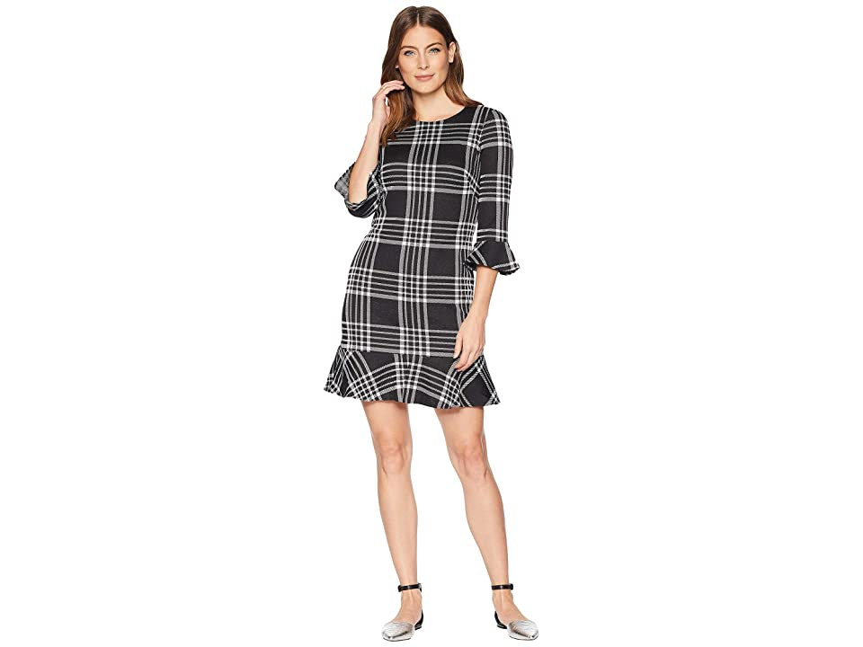 CHAPS Plaid 3/4 Sleeve Day Dress (Black/White) Women