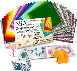 Origami Paper | 350 Origami Paper Kit | Set Includes - 300 Sheets 20 Colors 6x6 | 50 Japanese Patterns | Origami Book 25 E...