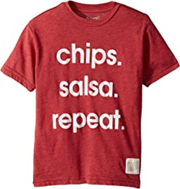 The Original Retro Brand Kids - Chips Salsa Repeat Short Sleeve Heather Tee (Big Kids)